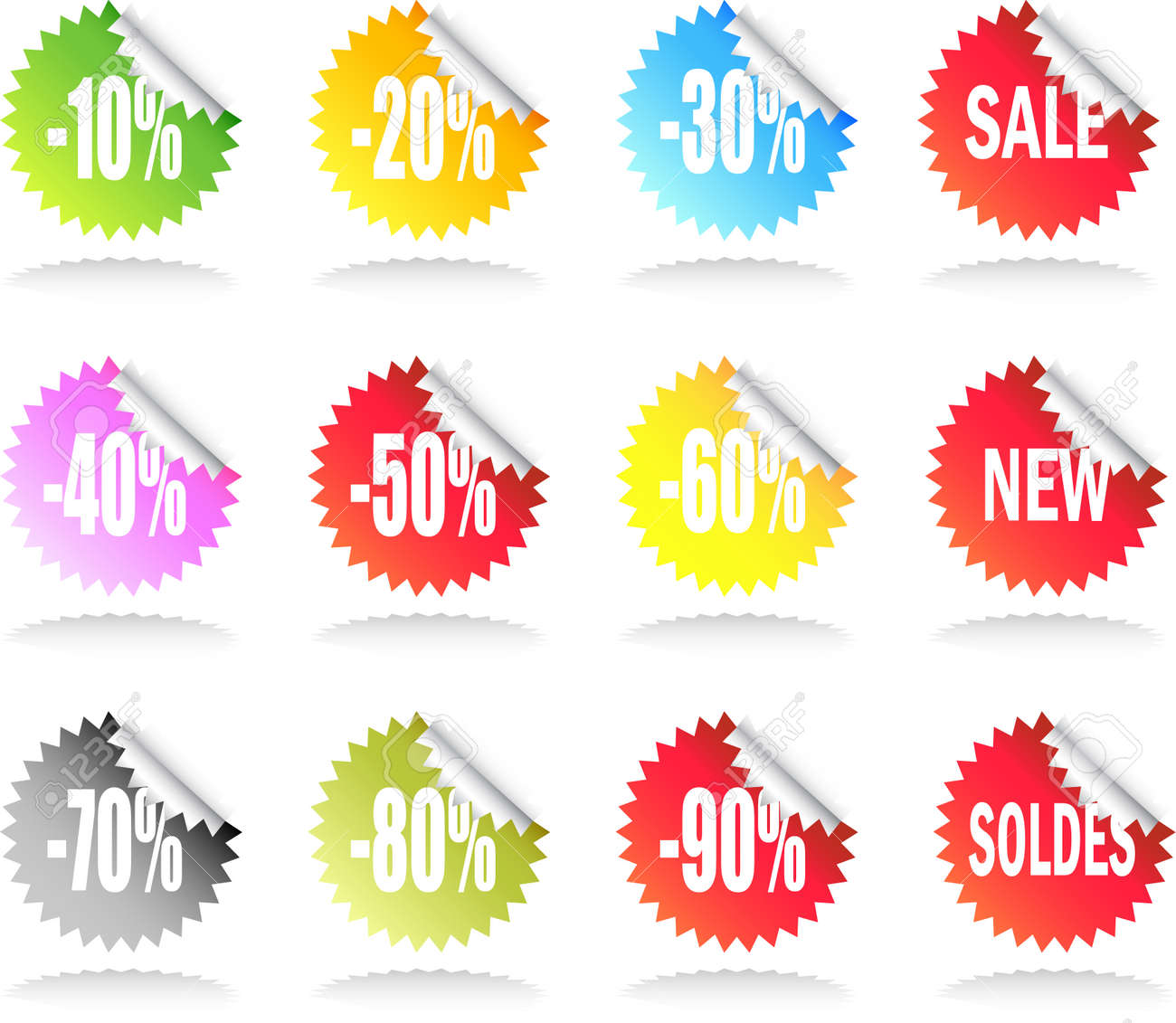 A Colourful Set of Sale Stickers Stock Vector - 4120691