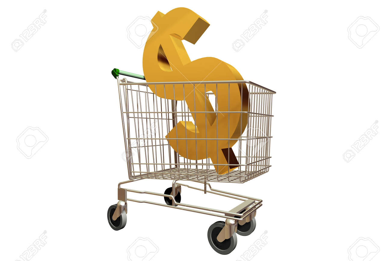 A 3d Rendered Image of a Shopping Trolley Stock Photo - 4185149
