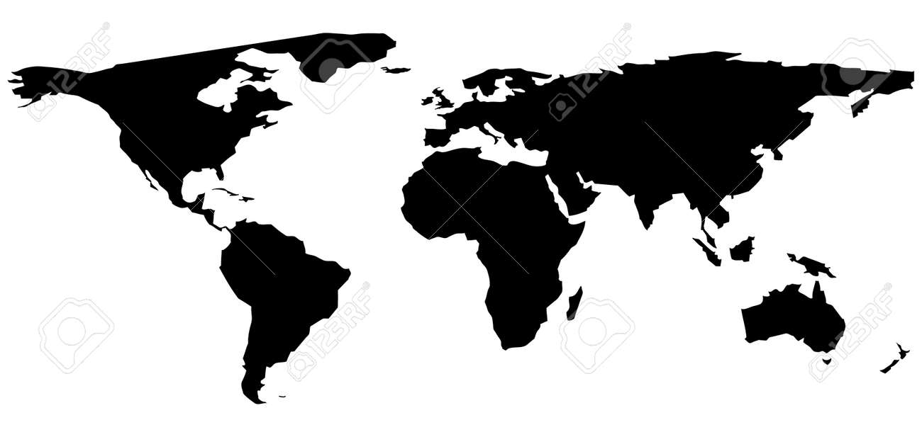 A Black And White World Map Illustration Royalty Free Cliparts ...