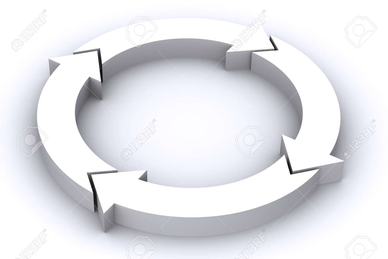 A 3D Rendered Image of a Circle of arrows Stock Photo - 4659485