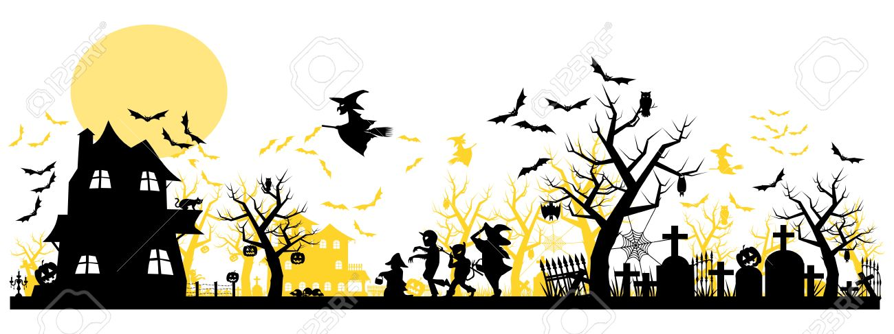 Halloween Pumpkin Clipart Transparent Background.Halloween Background Two Layer On Transparent Background
