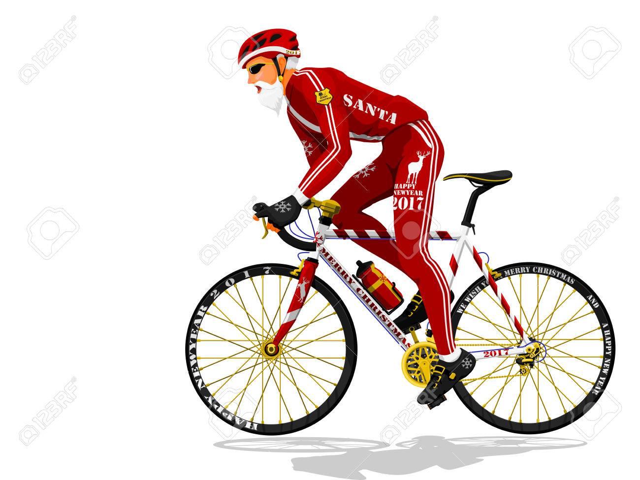 Babbo Natale In Bicicletta.Vettoriale Babbo Natale E In Bicicletta Trasparente Image 68480260