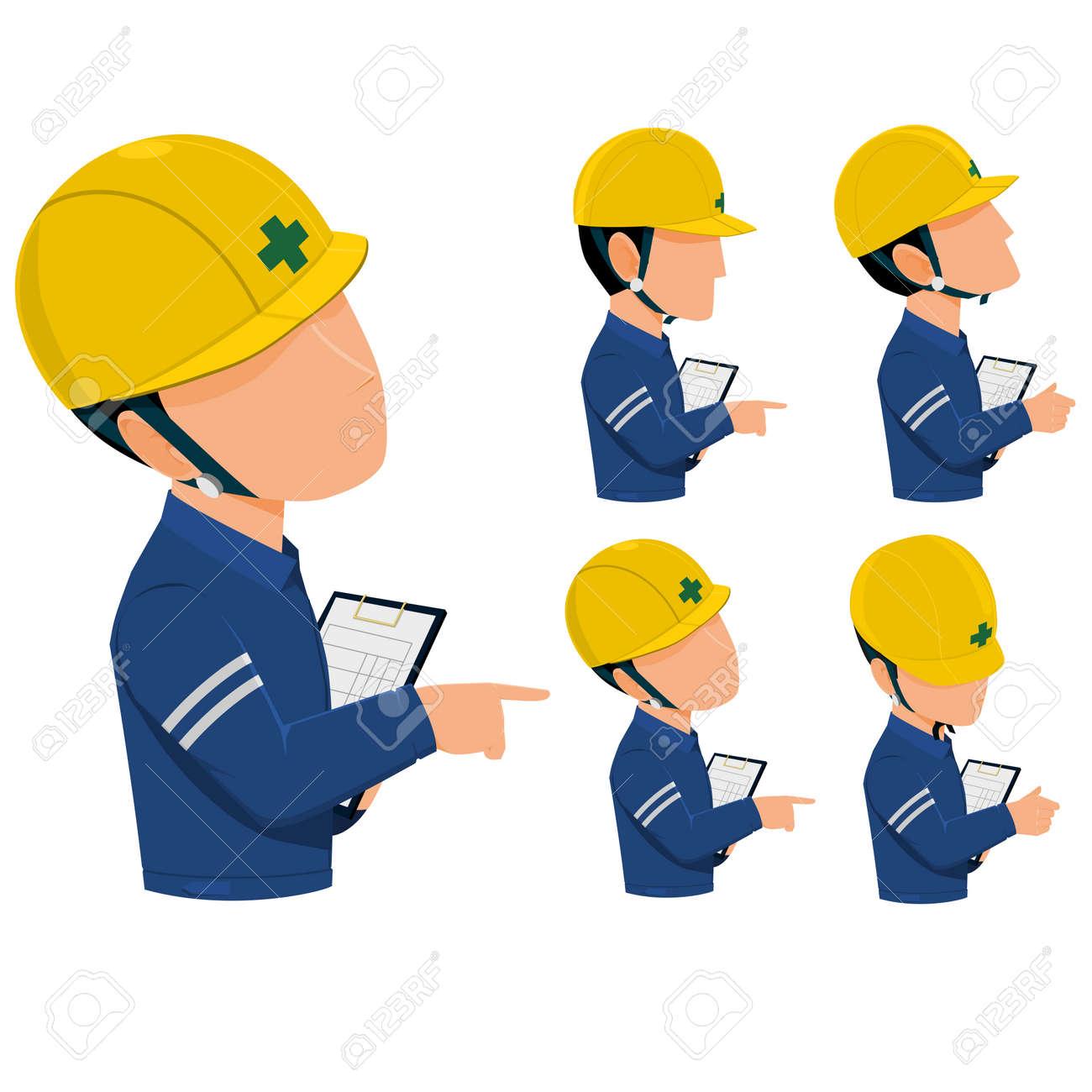検査官は工事現場や工場パトロールしますのイラスト素材ベクタ