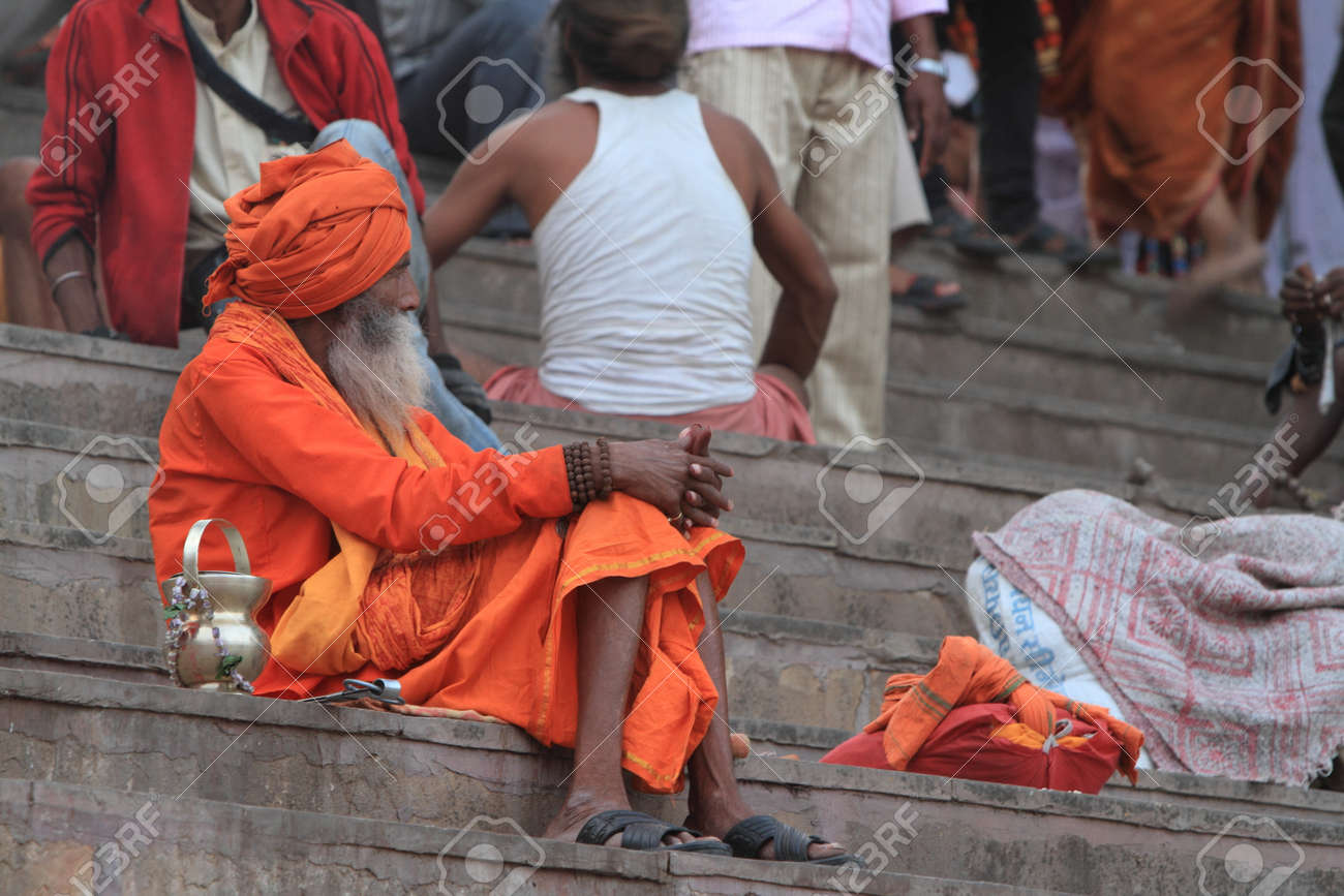 Holy Sadhu in Varanasi Stock Photo - 29516317