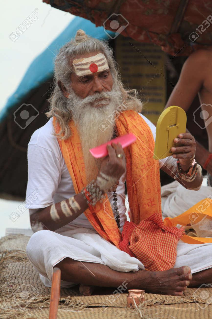 Holy Sadhu in Varanasi Stock Photo - 29516583