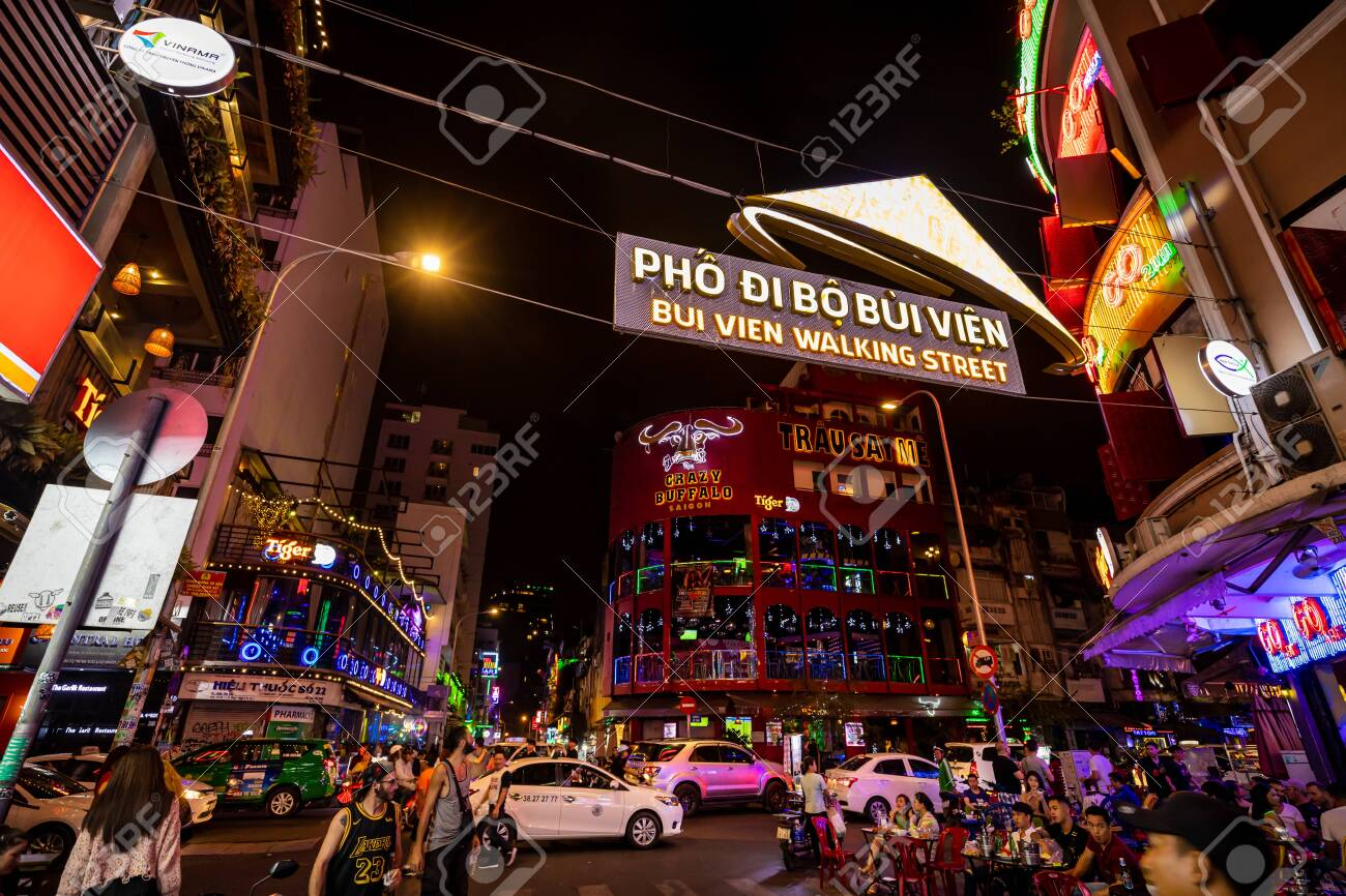 The Nightlife Of The City Of Saigon In Vietnam Stock Photo Picture And Royalty Free Image Image 145613777
