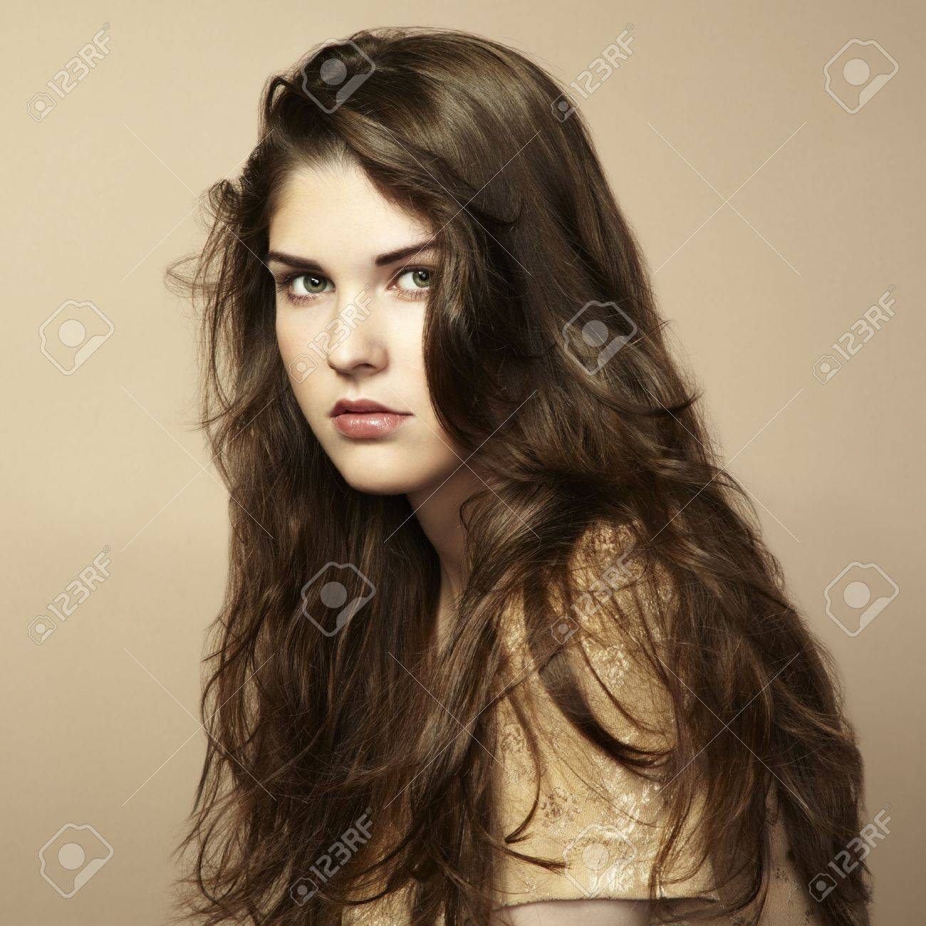 Fashion photo of beautiful woman with magnificent hair  Studio portrait Stock Photo - 14178535