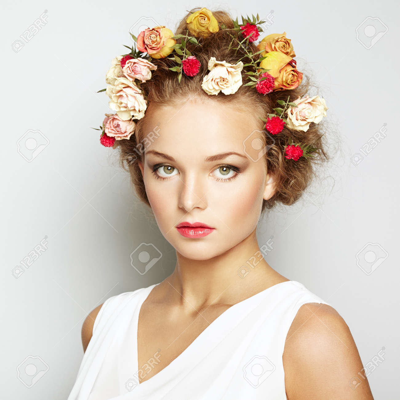 Beautiful woman with flowers perfect face skin beauty portrait beautiful woman with flowers perfect face skin beauty portrait fashion photo stock photo dhlflorist Gallery