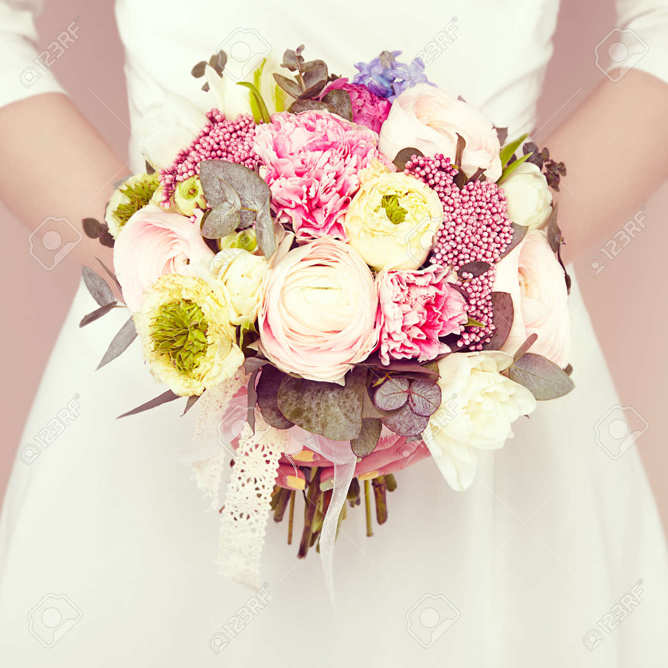 Woman With Bouquet Of Flowers In Her Hands Flowers Spring Stock