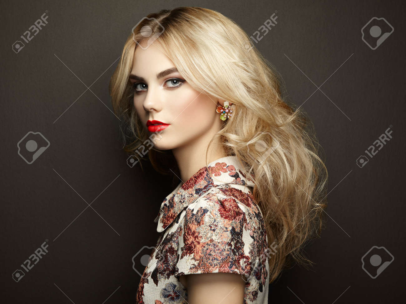 Portrait of beautiful sensual woman with elegant hairstyle.  Perfect makeup. Blonde girl. Fashion photo. Jewelry and dress Stock Photo - 46206503