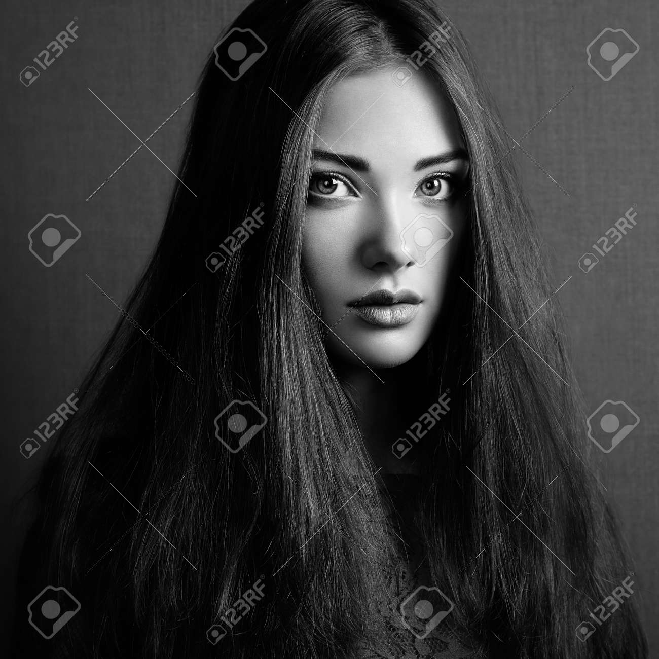 Portrait Of Beautiful Dark Haired Woman Close Up Beauty Photo Stock