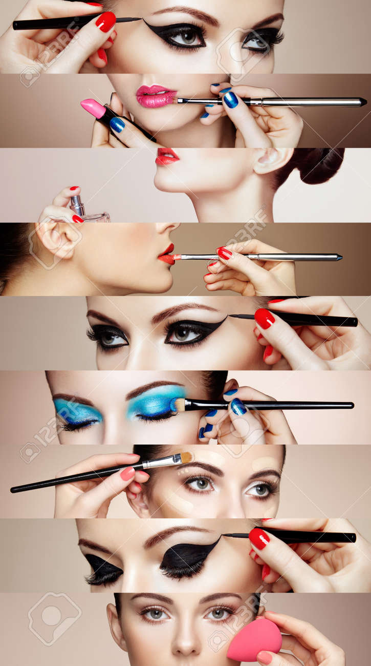 Beauty collage. Faces of women. Fashion photo. Makeup artist applies lipstick and eye shadow. Woman applying perfume - 53559646