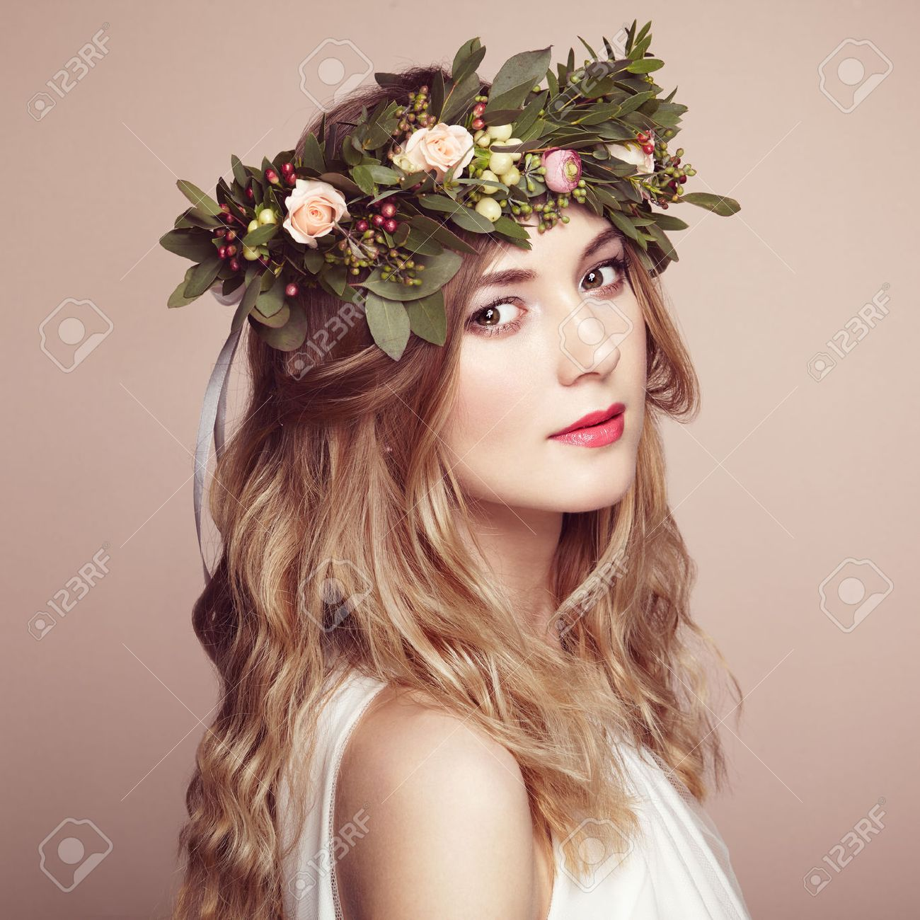Beautiful blonde woman with flower wreath on her head beauty beautiful blonde woman with flower wreath on her head beauty girl with flowers hairstyle dhlflorist Gallery