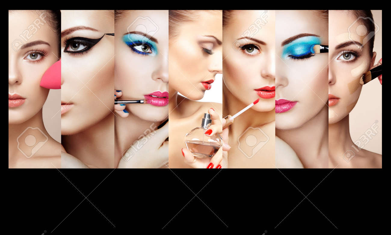Beauty collage. Faces of women. Fashion photo. Makeup artist applies lipstick and eye shadow. Woman applying perfume - 60752562
