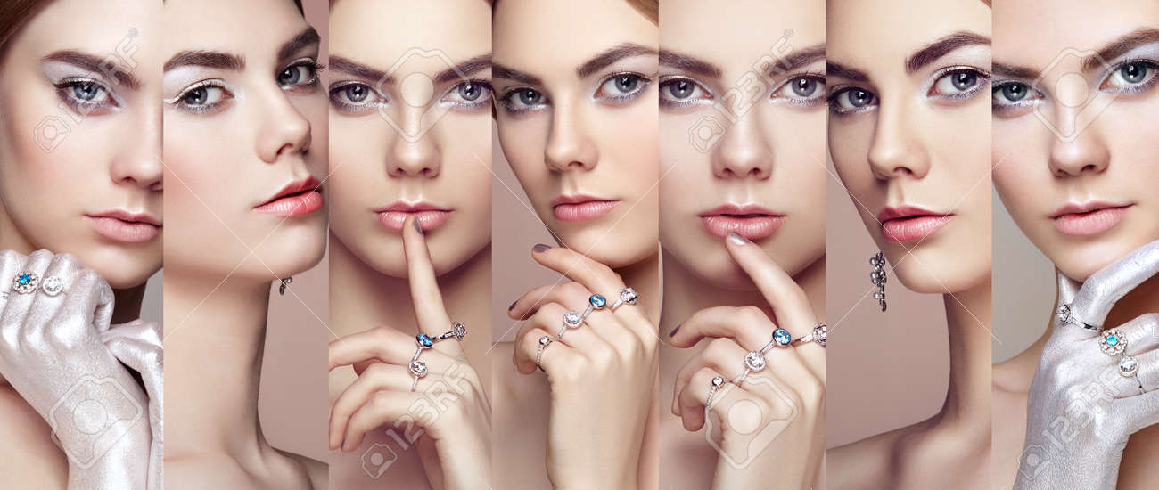 Beauty collage. Faces of women. Fashion portrait of young beautiful woman with jewelry. Blonde girl. Perfect make-up. Beauty style woman with diamond accessories - 64064026