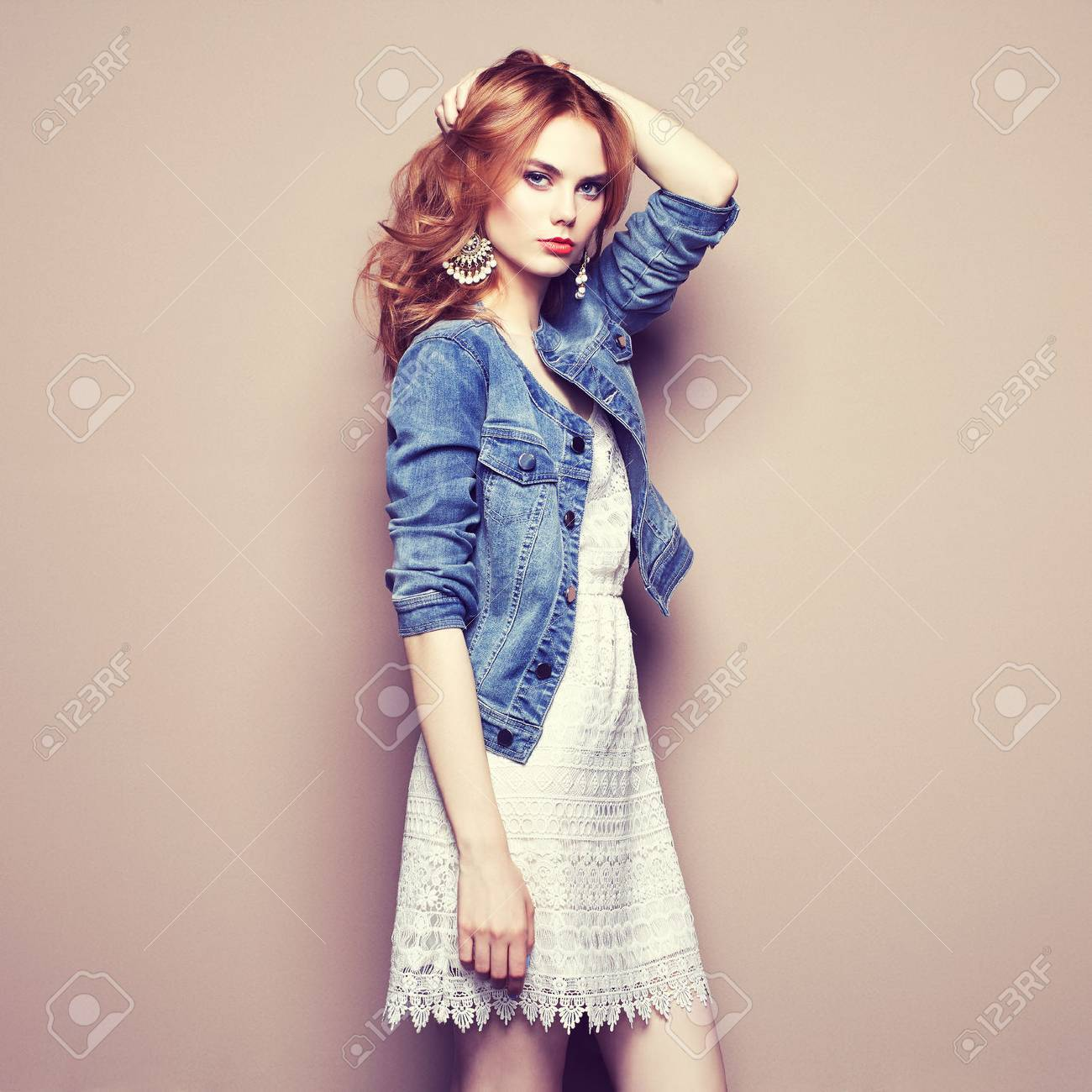 Fashion portrait of beautiful young woman in a summer dress. Beauty spring photo - 65173839