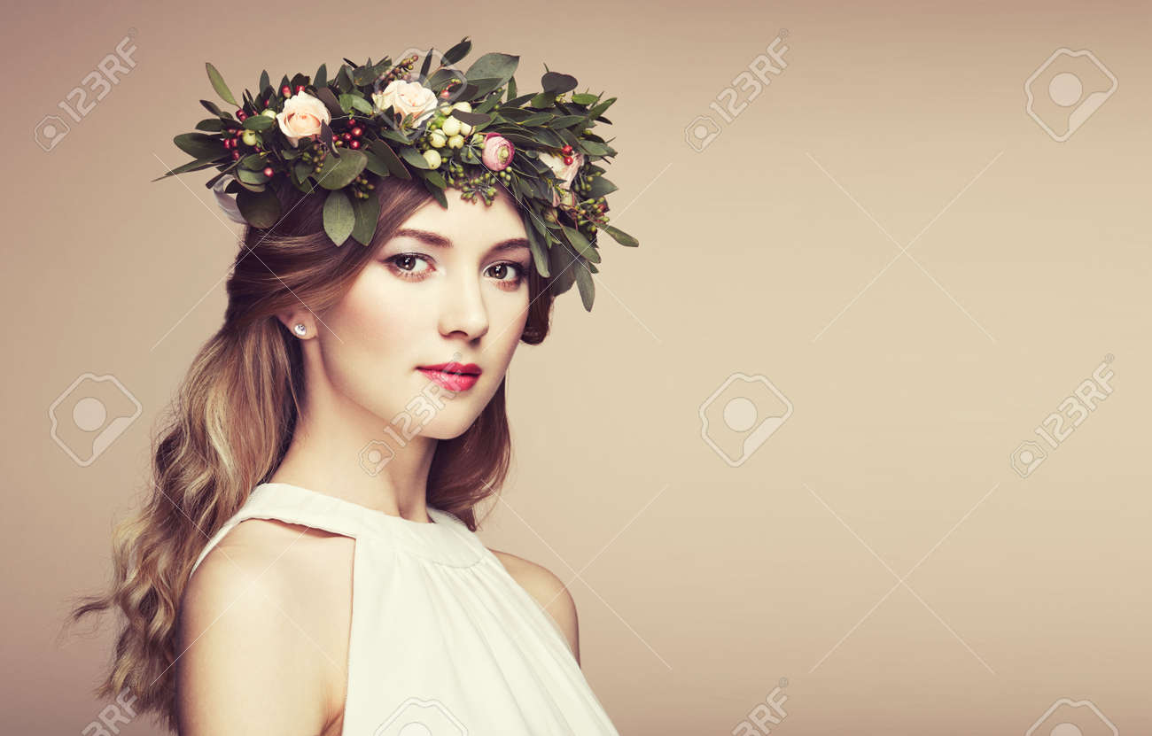 Beautiful Blonde Woman With Flower Wreath On Her Head Beauty