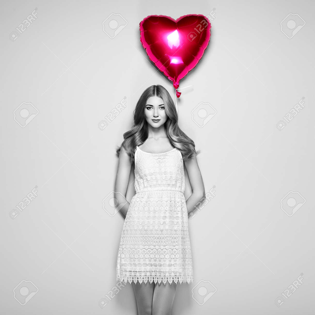 Black And White Photo Beautiful Young Woman With Heart Shape Stock Photo Picture And Royalty Free Image Image 73868587