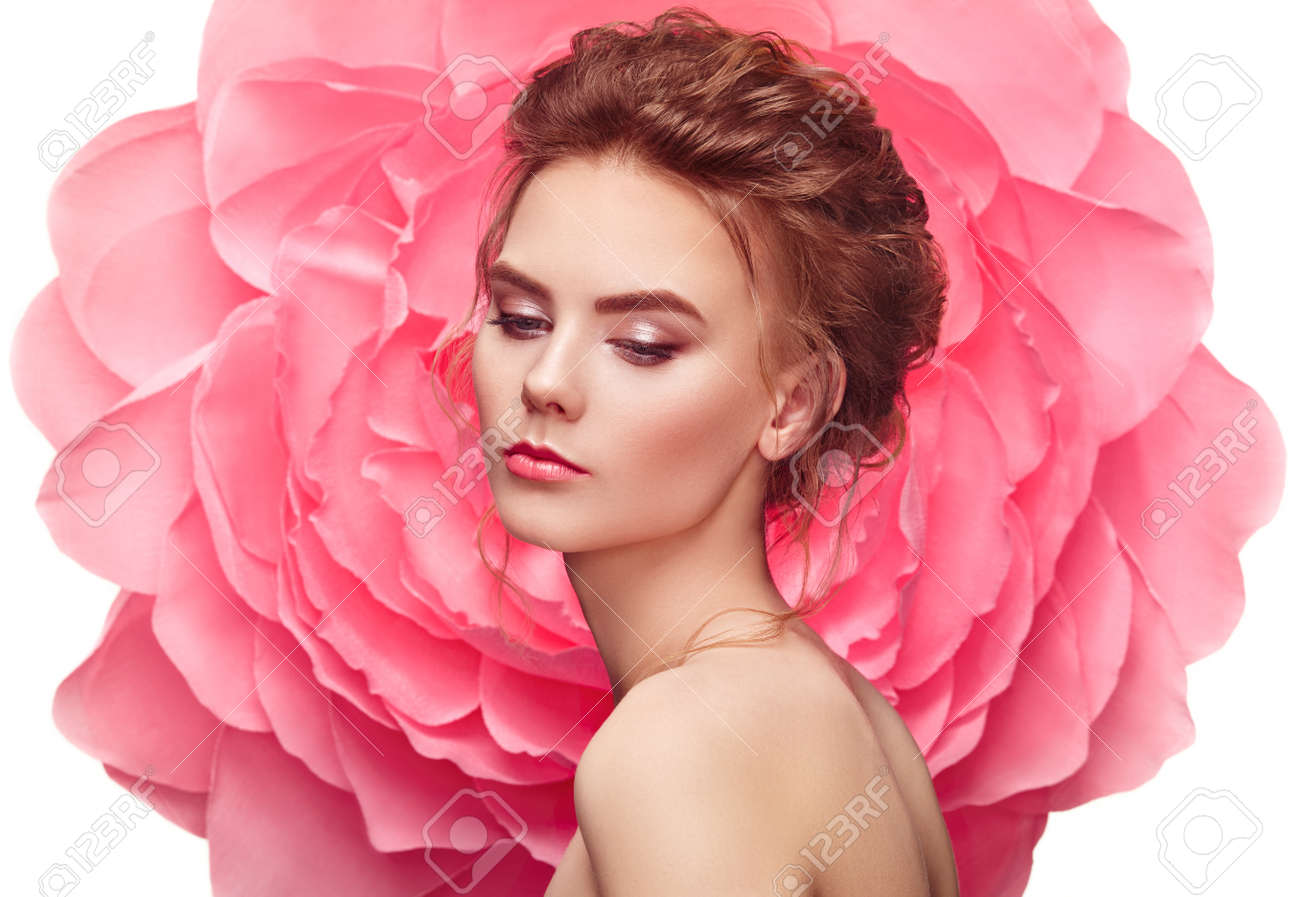 Beautiful woman on the background of a large flower beauty summer beautiful woman on the background of a large flower beauty summer model girl with pink izmirmasajfo