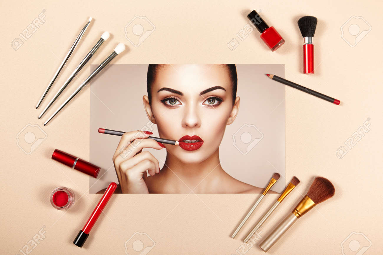 Fashion lady accessories collage. Falt Lay. Beauty photography. Make-Up brushes. Jewelry and nail polish. Beautiful woman paints lips with red lipstick. Nails and manicure - 79570572