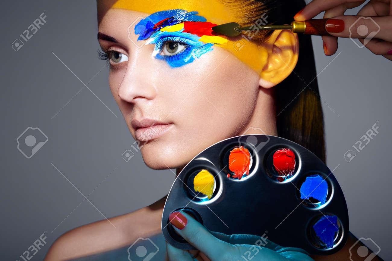Makeup Artist Applies Colorful Makeup Fashion Model Woman With