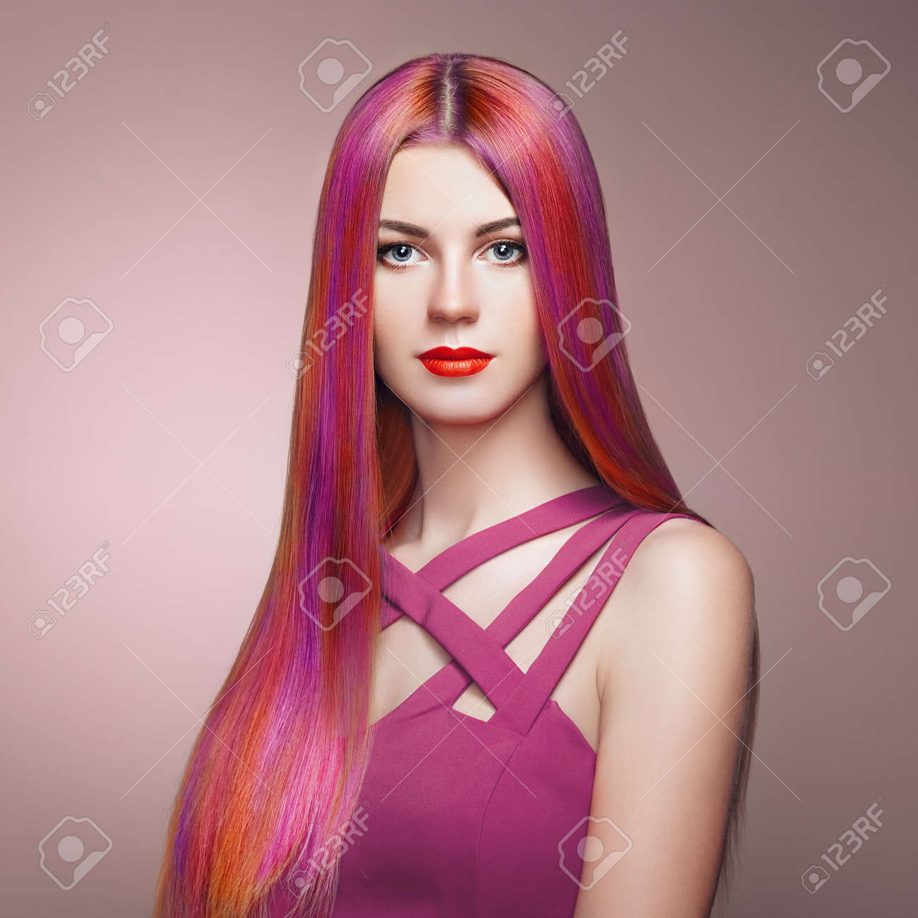 Beauty Fashion Model Girl with Colorful Dyed Hair. Girl with perfect Makeup and Hairstyle. Model with perfect Healthy Dyed Hair. Rainbow Hairstyles - 94919552