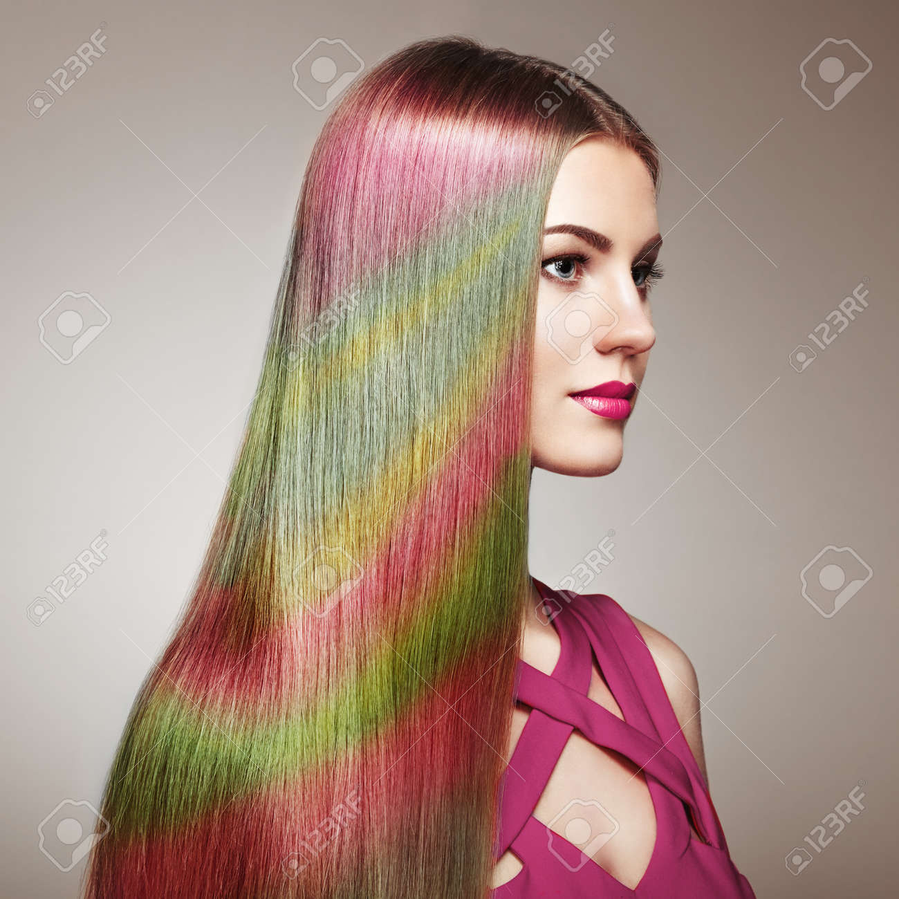 Beauty Fashion Model Girl With Colorful Dyed Hair. Girl With ...