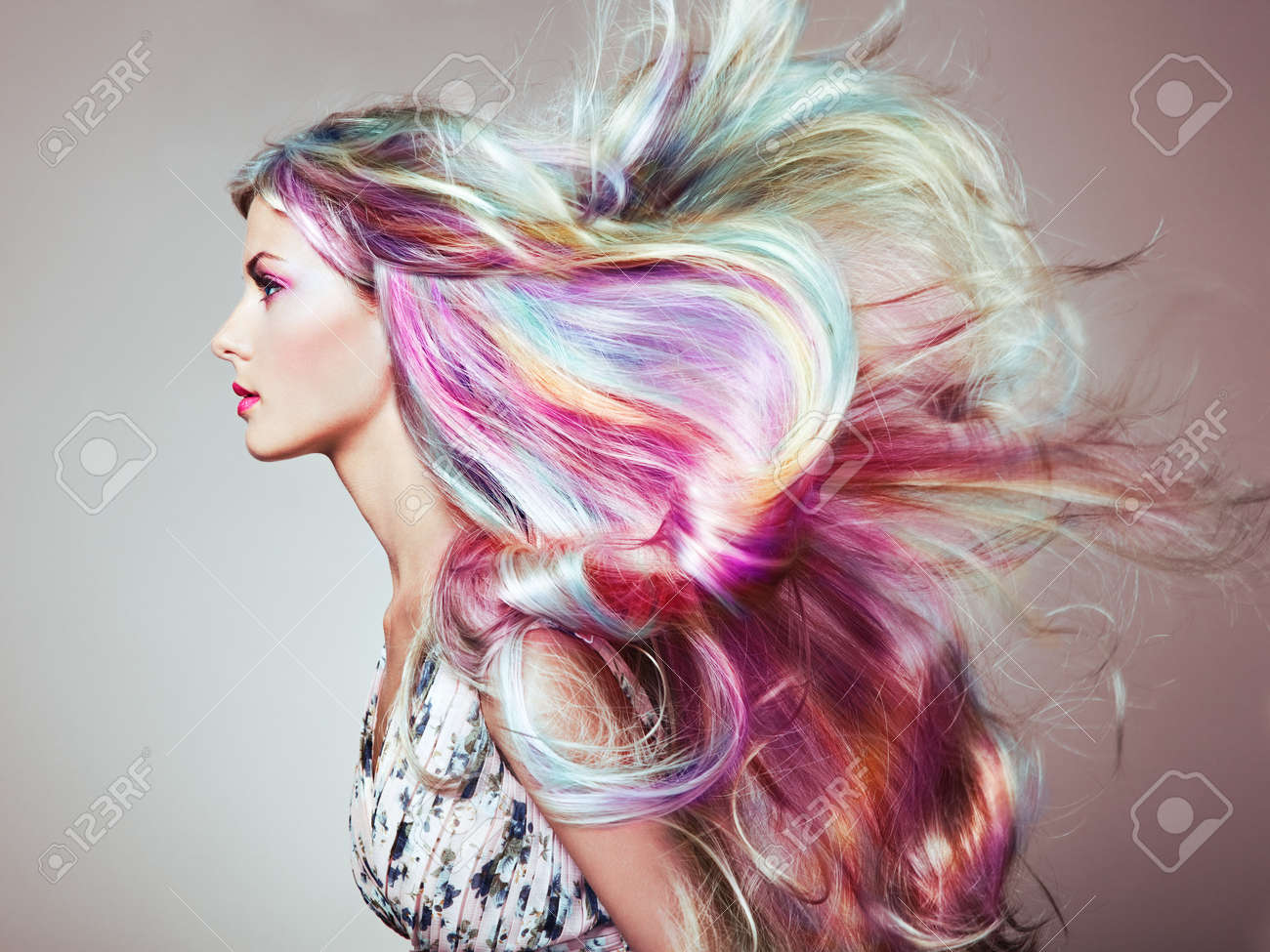 Beauty Fashion Model Girl with Colorful Dyed Hair. Girl with perfect Makeup and Hairstyle. Model with perfect Healthy Dyed Hair. Rainbow Hairstyles - 95717889