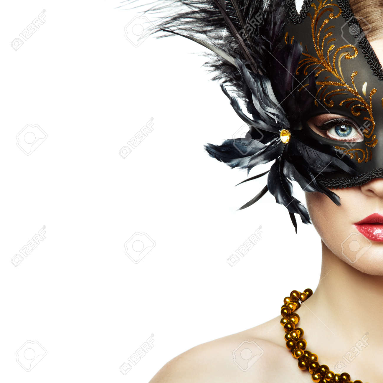 Beautiful young Woman in Mysterious Black Venetian Mask. Fashion photo. Masquerade Mask with Black Feathers - 95961836