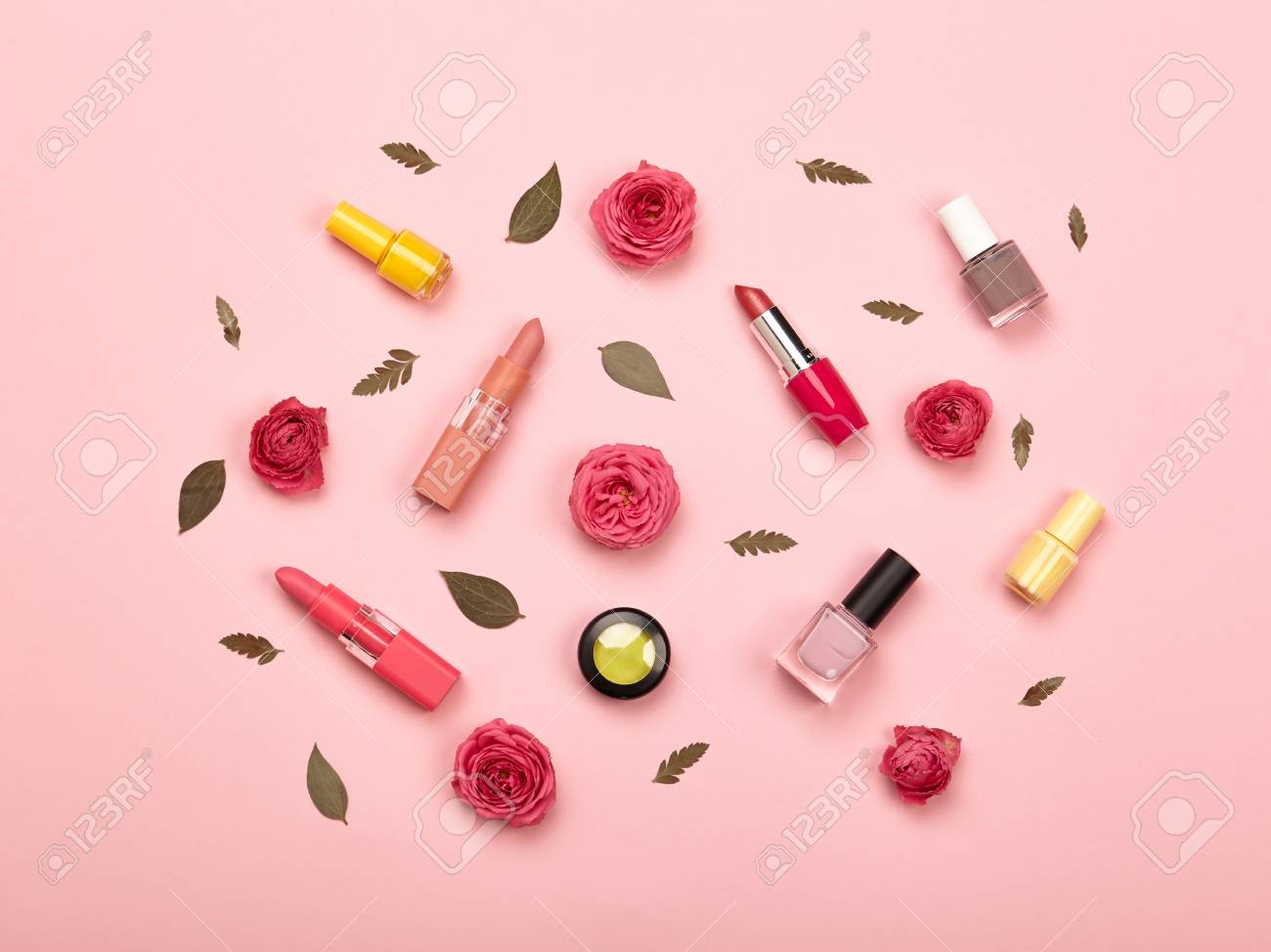 Fashionable Women's Cosmetics and Accessories. Falt Lay. Nail Polish and Lipstick. Beautiful Roses Flower. Make Up Cosmetic items Top View - 98433821