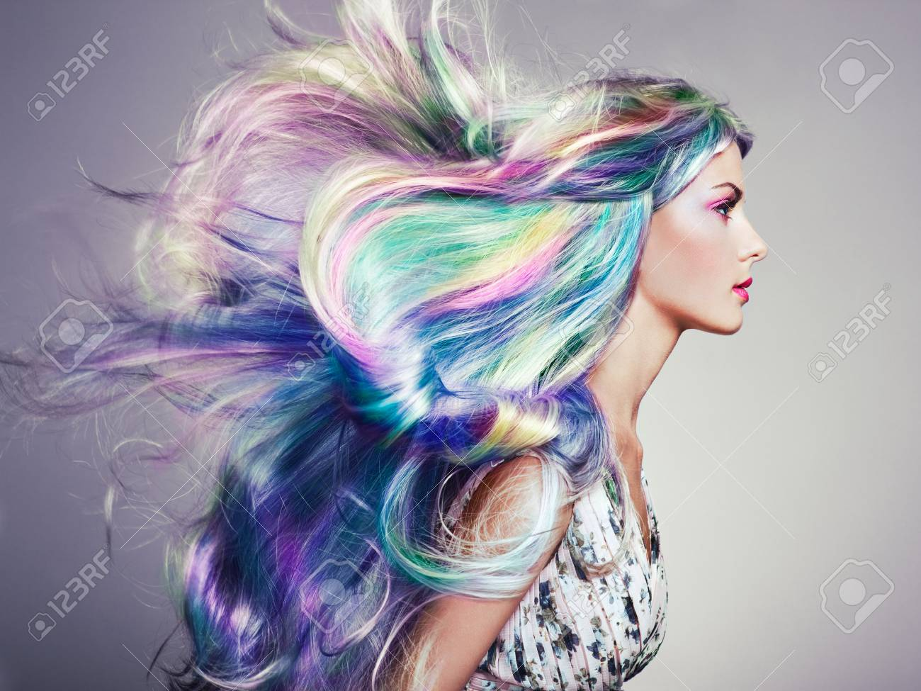 Beauty Fashion Model Girl with Colorful Dyed Hair. Girl with..