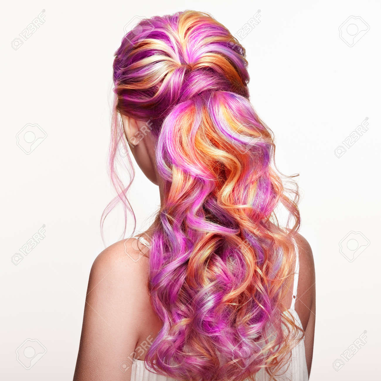 Beauty Fashion Model Girl With Colorful Dyed Hair. Girl With.. Stock ...