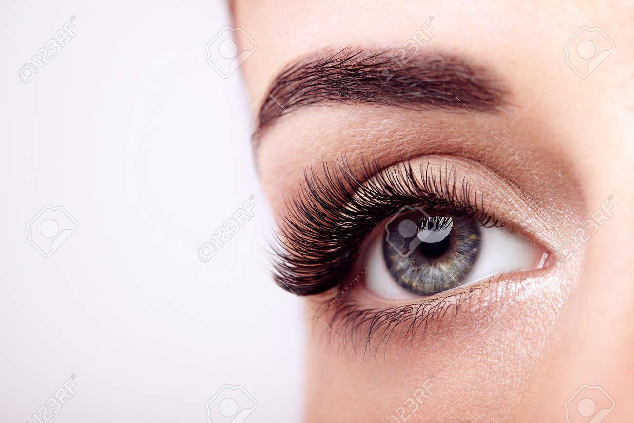 3436a3a4593 Close up, Macro. Female Eye with Extreme Long False Eyelashes. Eyelash  Extensions. Makeup, Cosmetics, Beauty
