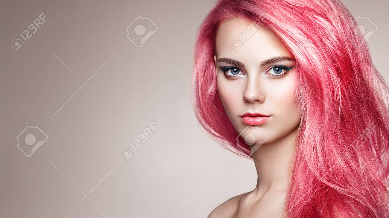 Beauty Fashion Model Girl with Colorful Dyed Hair. Girl with Perfect Makeup and Hairstyle. Model with Perfect Healthy Dyed Hair - 114204309