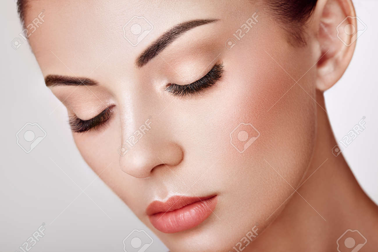 Beautiful Woman with Extreme Long False Eyelashes. Eyelash Extensions. Makeup, Cosmetics. Beauty, Skincare - 120083301