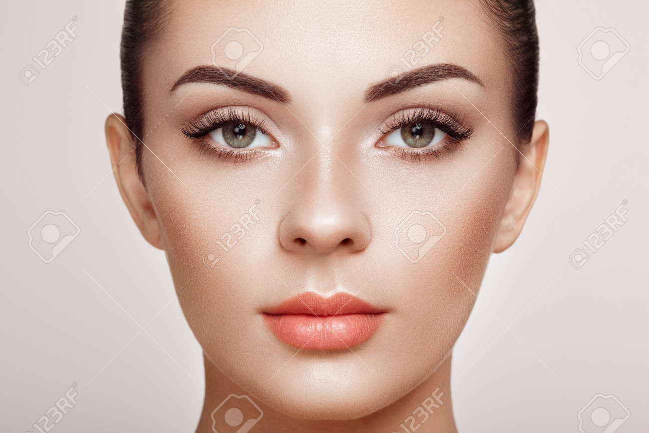 Beautiful Woman with Extreme Long False Eyelashes. Eyelash Extensions. Makeup, Cosmetics. Beauty, Skincare - 120083308