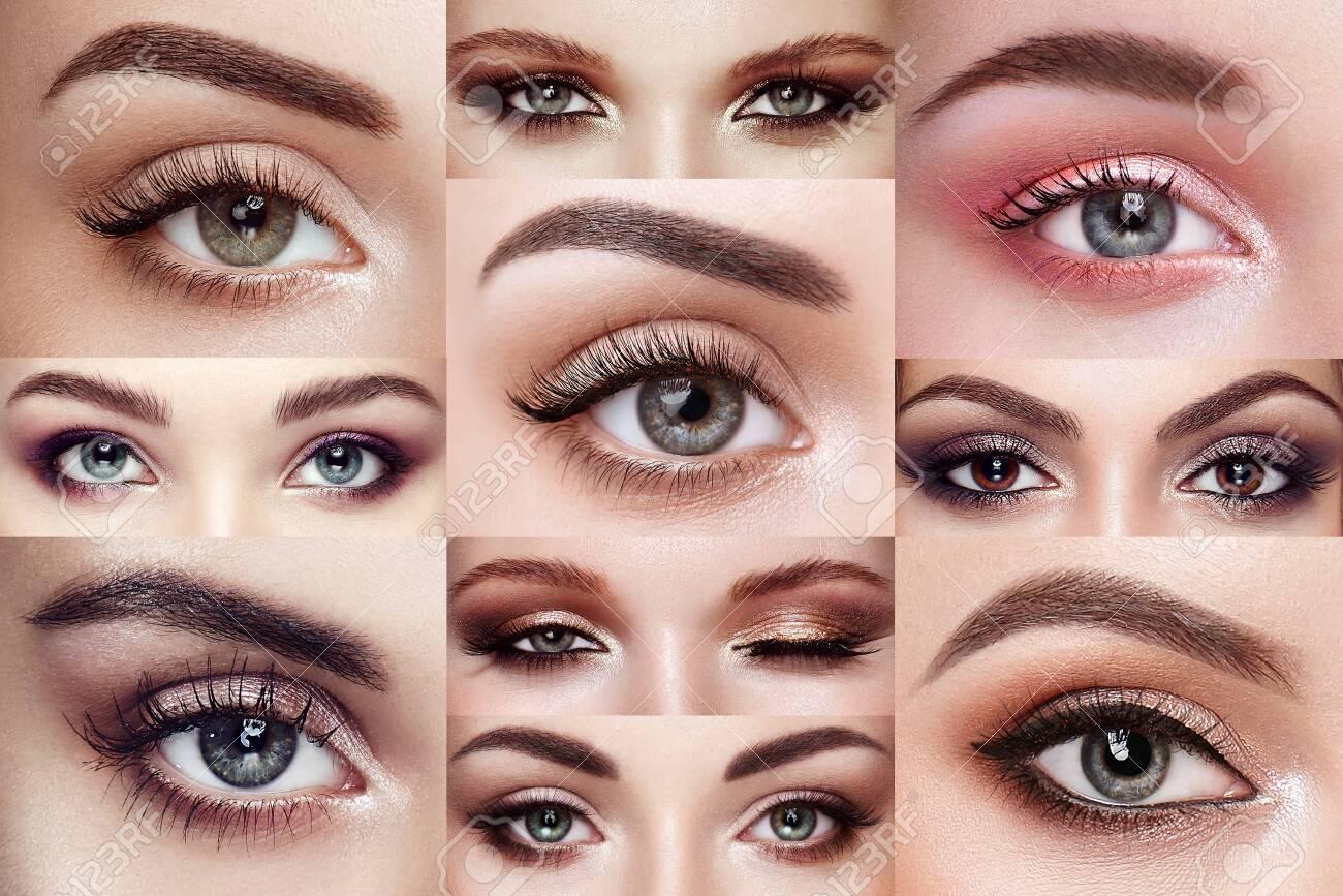 Collage of women's eyes with extreme long eyelashes. Eyelash extensions. Makeup, cosmetics, Beauty. Close up, Macro - 133589515