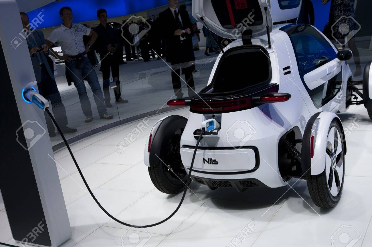 Frankfurt, GERMANY, September 16, 2011 - Volkswagen shows a new concept electric car called Nils, an urban single-seater Stock Photo - 12262039