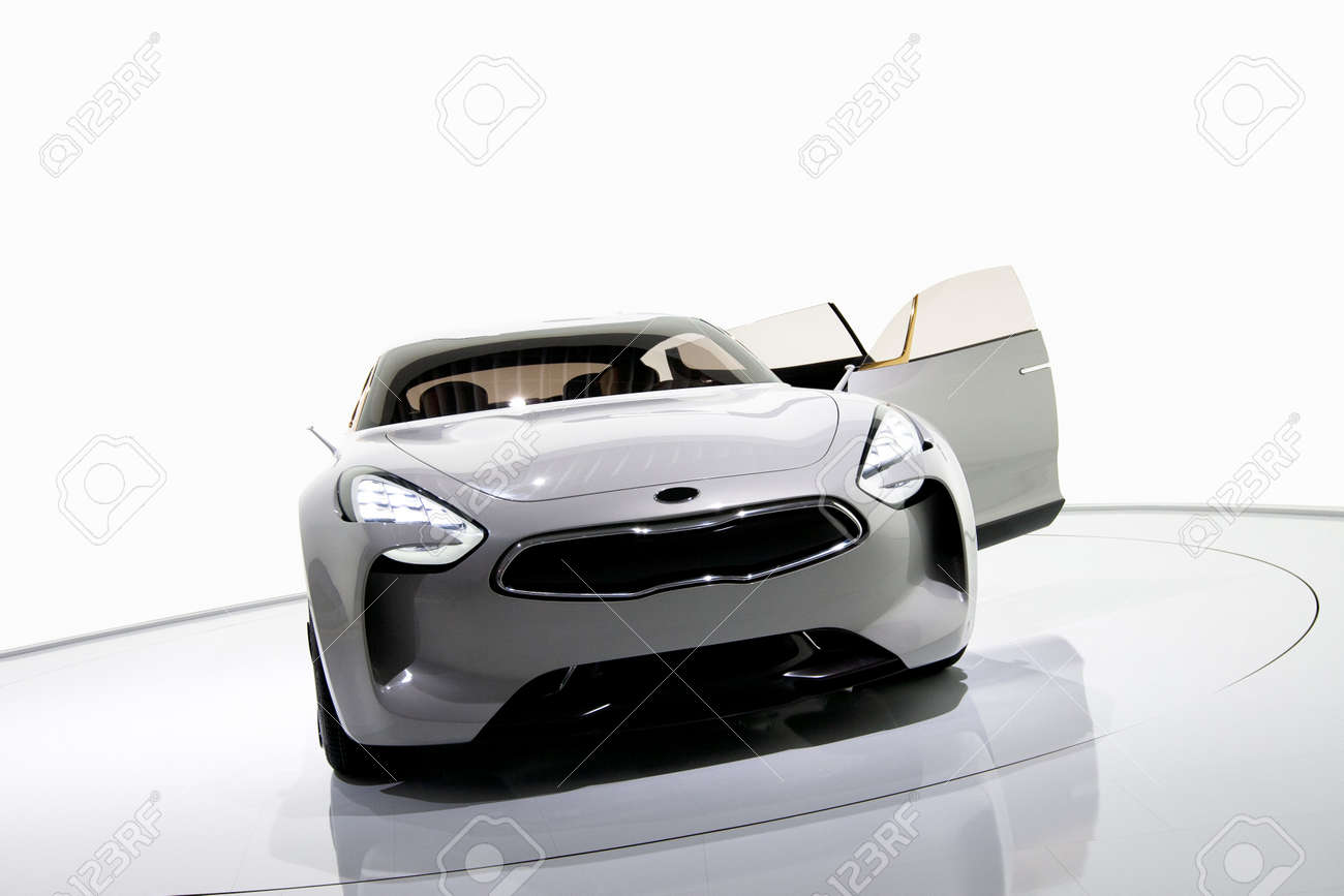 Futuristic white sports car on a platform, isolated background Stock Photo - 13833787