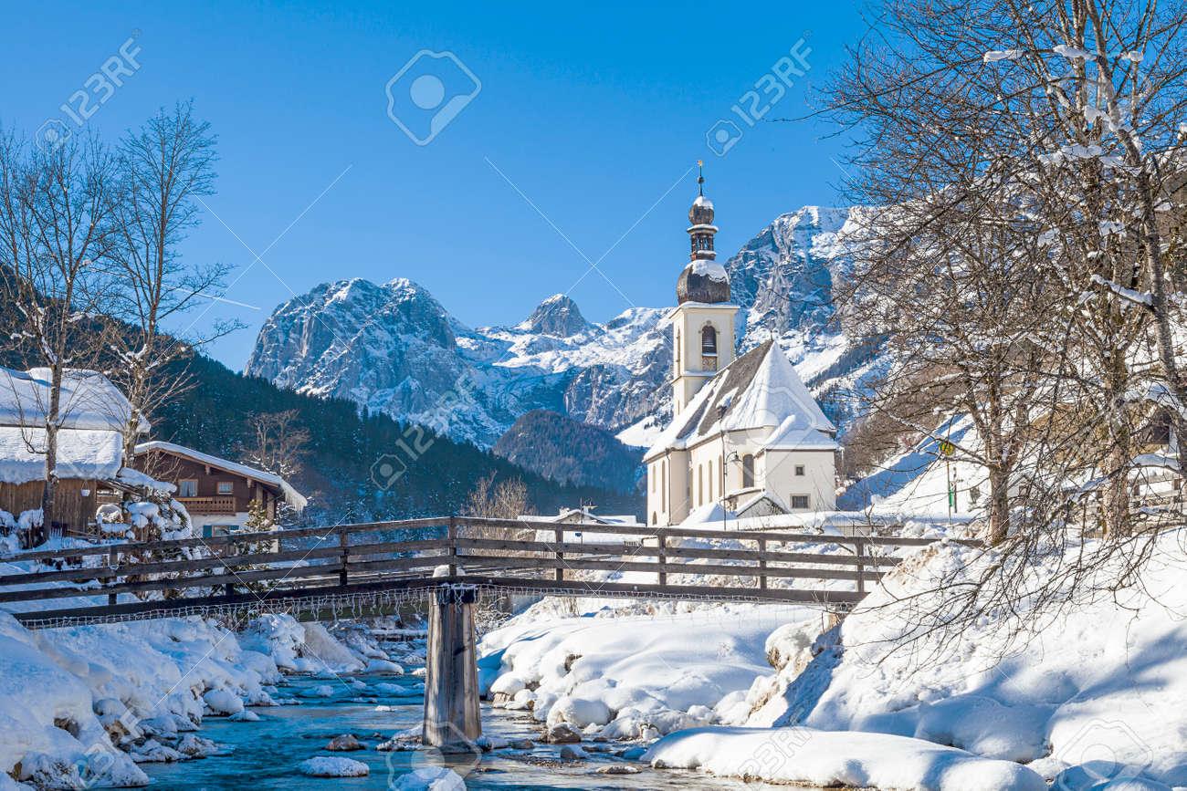 Popular tourist location, Ramsau, parish church Saint Sebastian, Ramsau, Berchtesgaden, Bavaria, Germany - 121549382