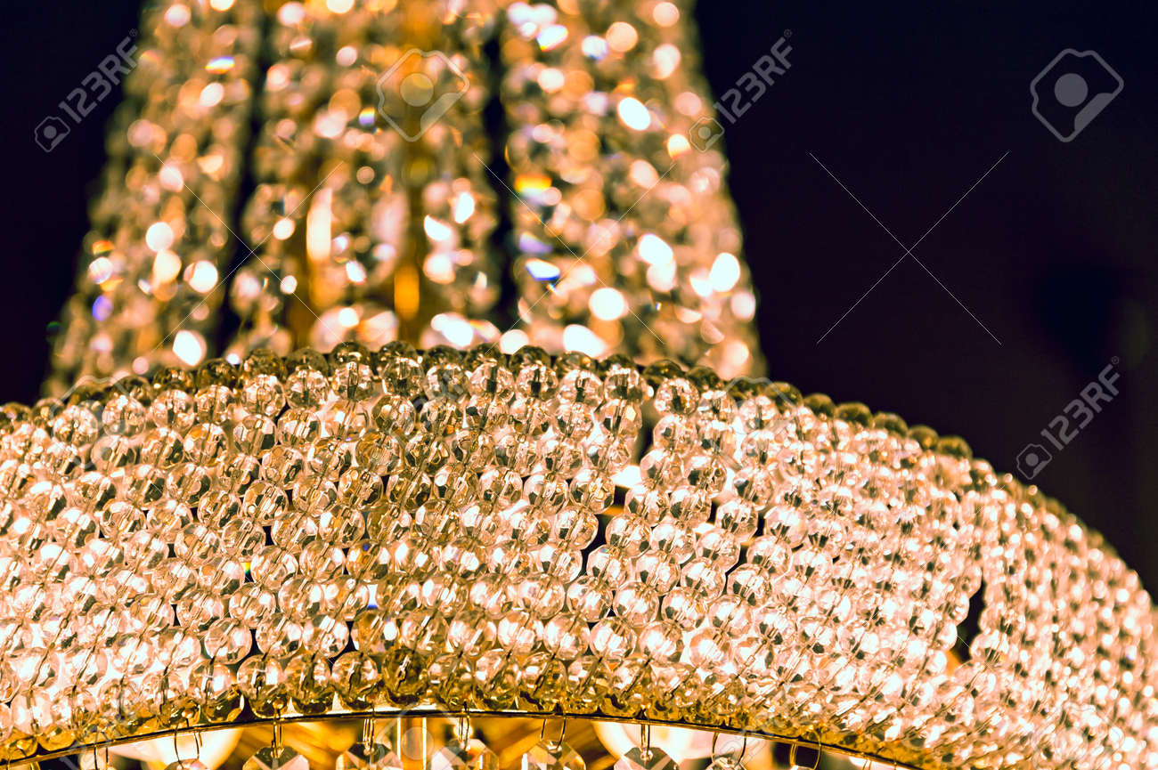 Crystal Glass Of Chandelier That Shines Like A Jewel In Room Stock - Chandelier jewels crystals