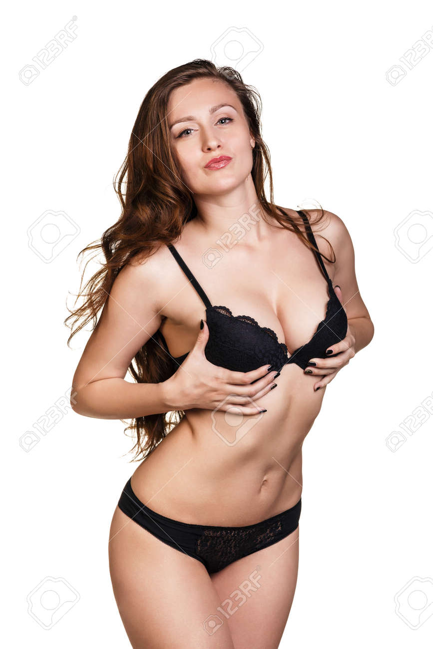 b985a994d1a23 Slim body of young woman in black bikini Girl with healthy sporty figure  isolated on white