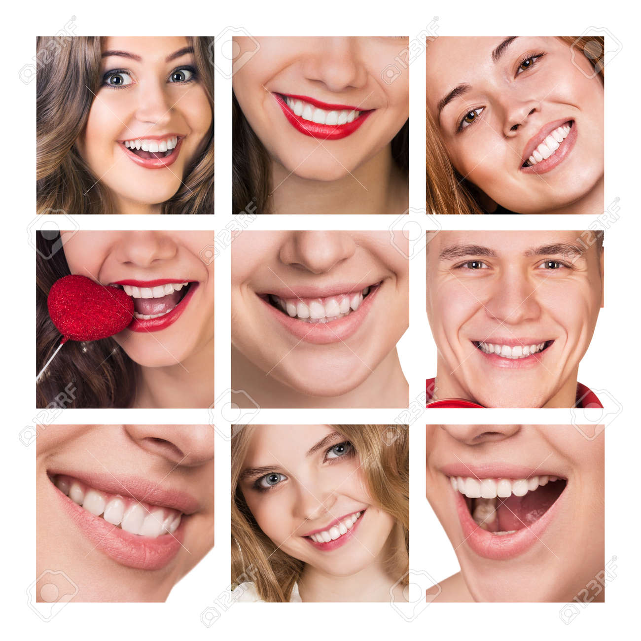 Smiling happy people with healthy teeth. Dental health. Collage. - 45246181