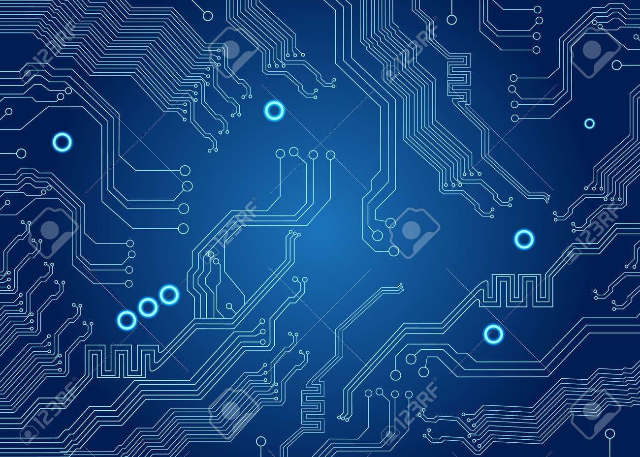 motherboard of computer on the blue circuit board background stock photo 45380510