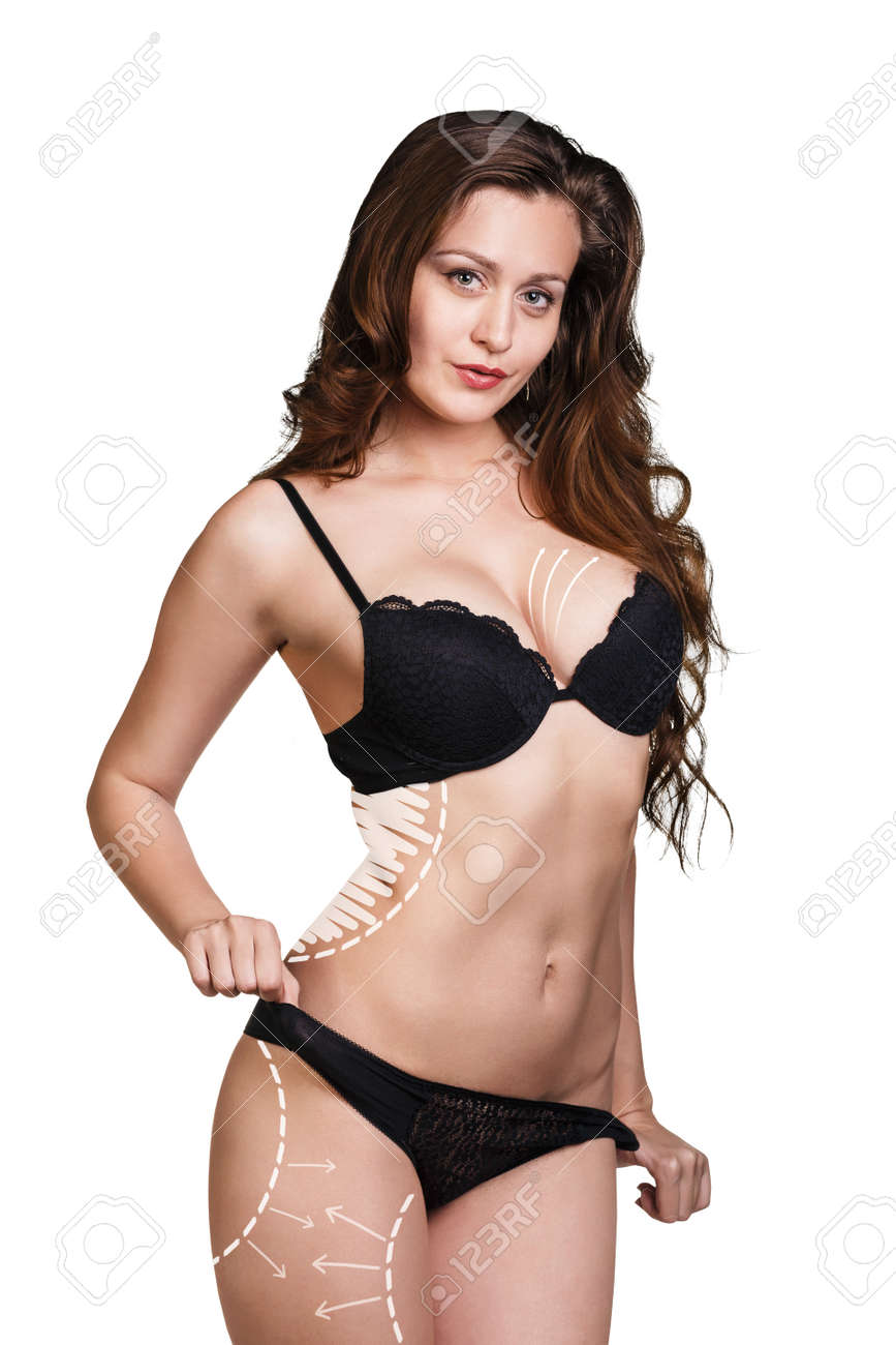 1268bb8031199 Slim body of young woman in black bikini. Girl with healthy sporty figure  isolated on