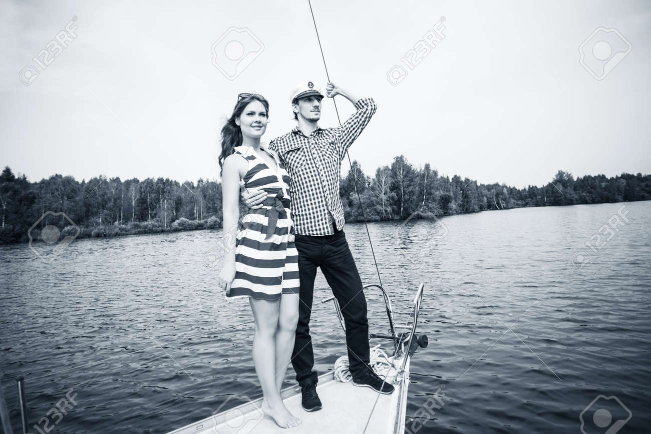 Young Romantic Couple Posing On The Yacht Stock Photo Picture And