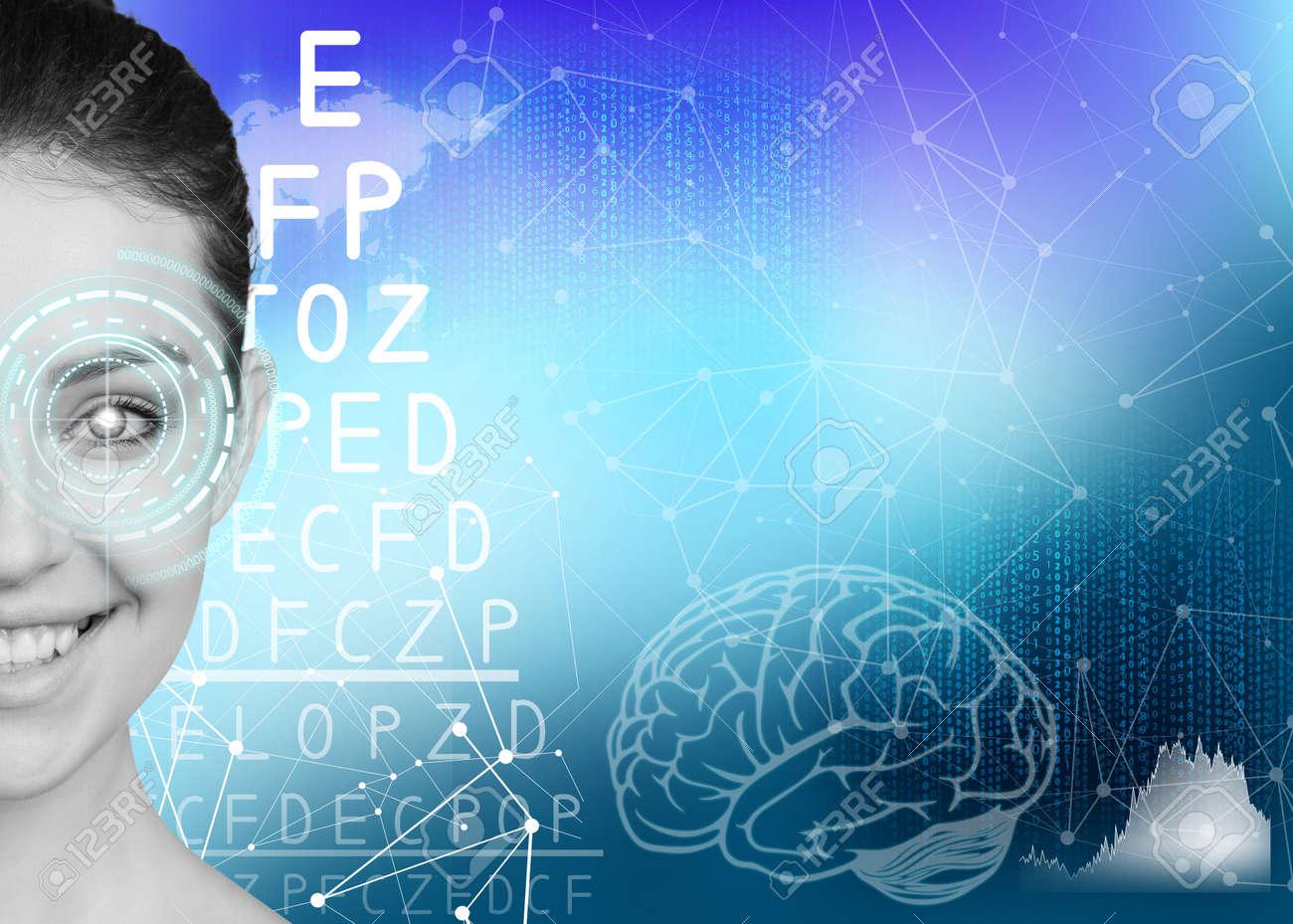 58462a5f448 Woman on eyesight exam with alphabet on blue background Stock Photo -  49693813