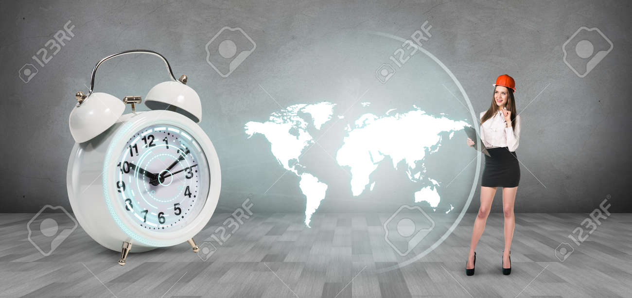Classical alarm clock project world map on the gray background classical alarm clock project world map on the gray background stock photo 55212797 gumiabroncs Images
