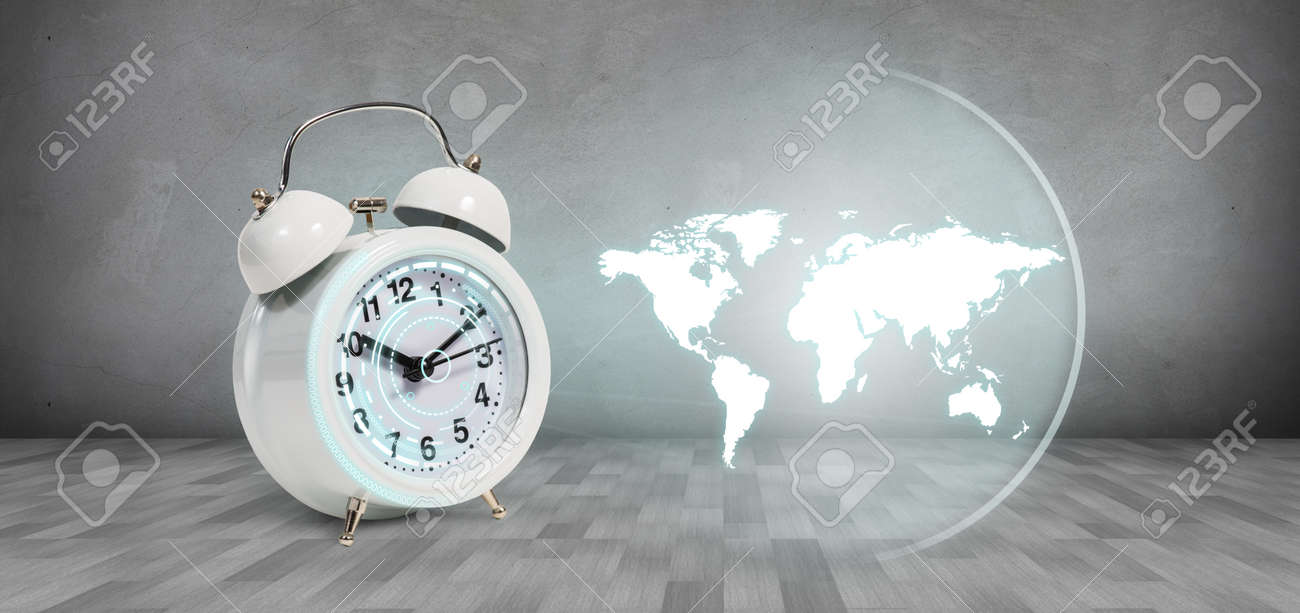 Classical alarm clock project world map on the gray background classical alarm clock project world map on the gray background elements of this image furnished gumiabroncs Image collections