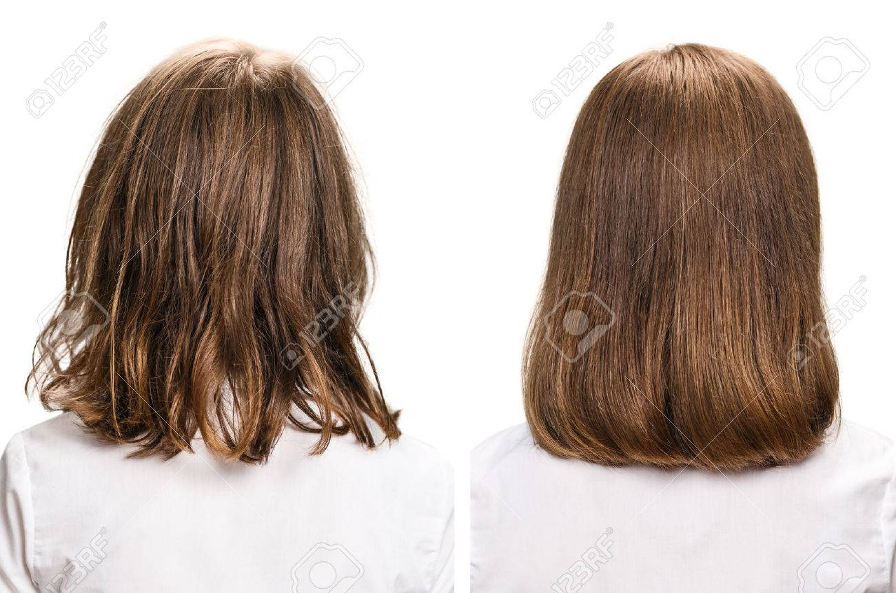 Hair Before And After Treatment. Haircare Concept. Damaged Hair ...